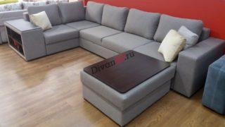 Раскладной модульный диван Бостон с пуфом серый