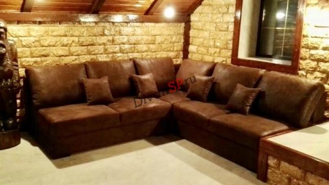 Модульный диван-кровать с механизмом дельфин Бостон коричневый
