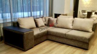 Раскладной модульный диван Бостон серый с бельевым ящиком