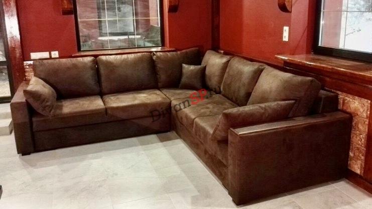 Модульный диван Бостон коричневый с ортопедическим спальным местом