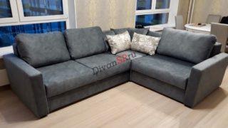 Современный раскладной модульный диван Бостон серый с бельевым ящиком