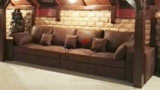 Прямой модульный диван Бостон коричневый со спальным местом