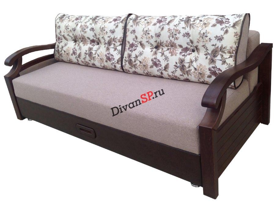 Диван-кровать пантограф с декором из натурального БУКА Леонардо розовый с узором