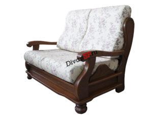 Двухместный диван с деревянными подлокотниками и спальным местом Амадей белый