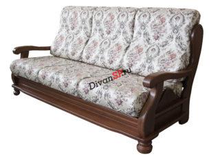 Трёхместный диван с деревянным декором и спальным местом Амадей