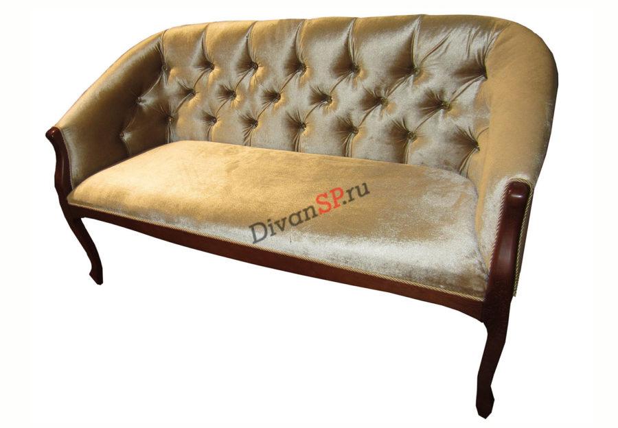 Двухместное кресло-скамья на деревянных ножках Базилио-2бежевое