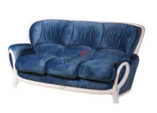 тройной диван-кровать Флоренция на деревянных ножках синий