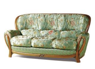 Трёхместный раскладной диван Флоренция с деревянным декором зелёный