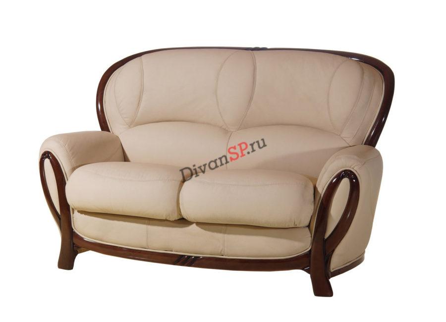 Двухместный кожаный диван-кровать Флоренция на деревянных ножках бежевый