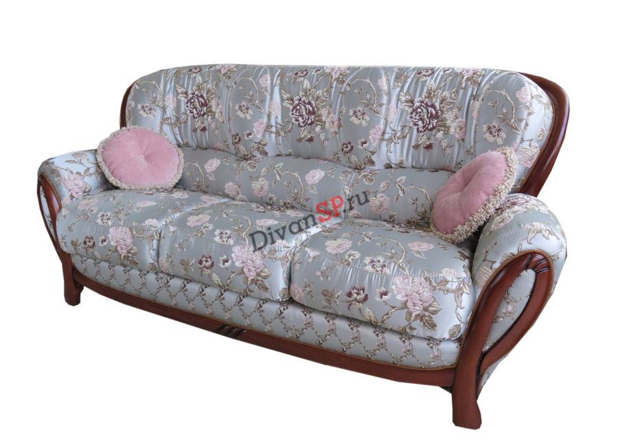 Трёхместный классический диван Флоренция со спальным местом серый