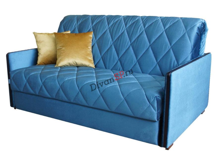Синий диван-аккордеон Гретта на металлокаркасе с бельевым ящиком