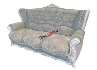 Классический трёхместный диван с деревянным декором Прага серый