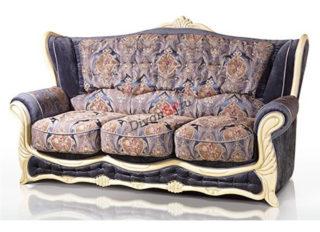 Трёхместный классический раскладной диван Прага с декором из бука синий с узором