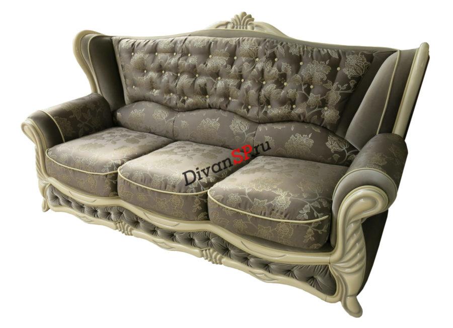 Трёхместный итальянский классический диван коричневый