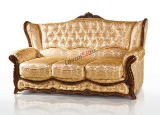 Классический трёхместный итальянский диван-кровать с деревянным декором золотистый