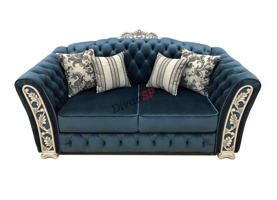 двухместный диван-кровать Турин с деревянным декором синий
