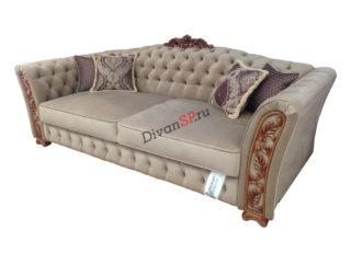 Четырёхместный диван-кровать Турин с деревянным декором бежевый
