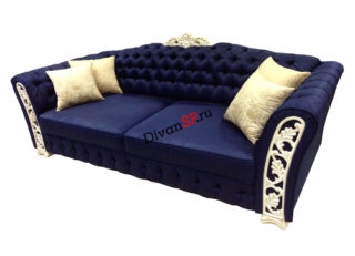 Итальянский четырёхместный диван-кровать с декором синий