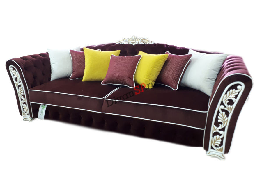 Четырёхместный итальянский диван-кровать с деревянным декором тёмно-красный