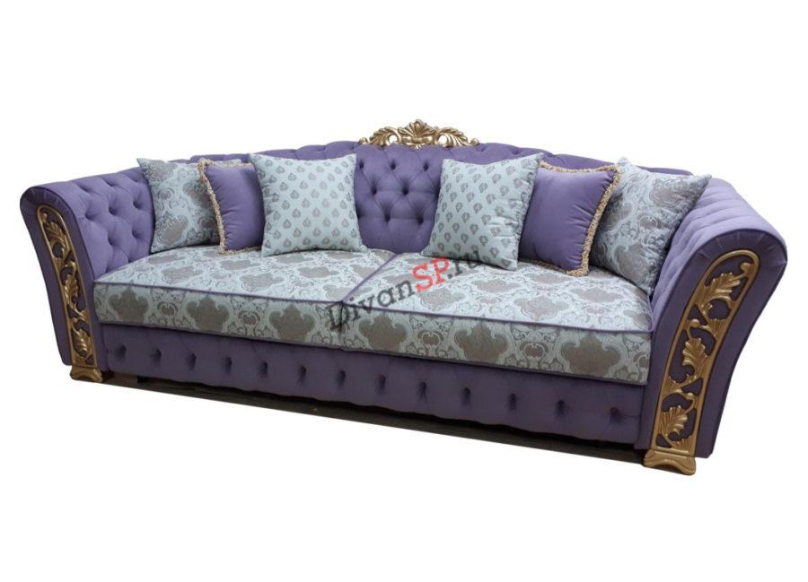 диван-кровать Турин с деревянным декором сиреневый