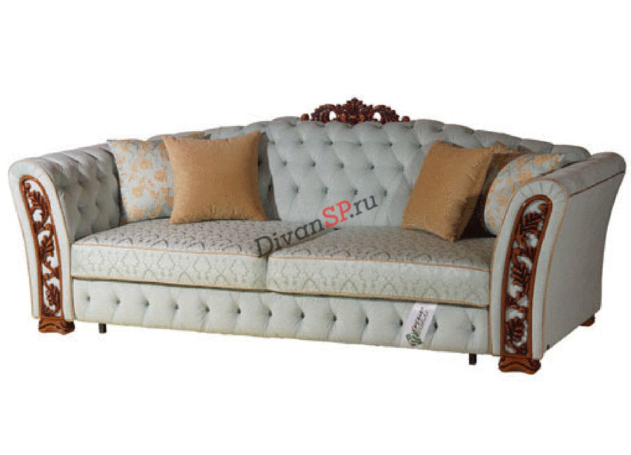 Прямой раскладной диван Турин с декором серый