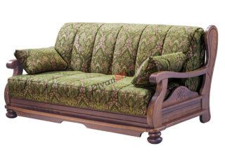 Диван аккордеон Амадей с деревянным декором зелёный