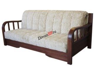 Диван-аккордеон Домино с деревянными подлокотниками и спинкой