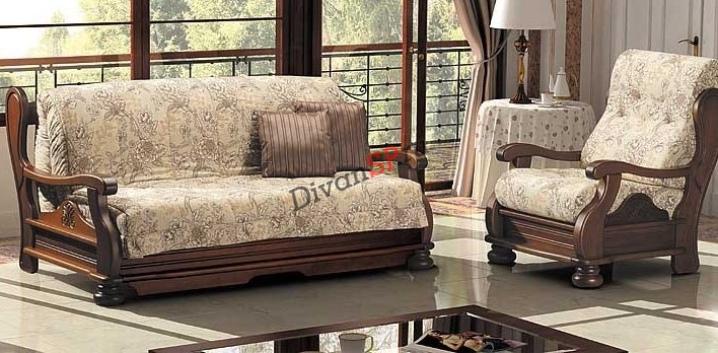 Диван и кресло с деревянными подлокотниками из бука Амадей