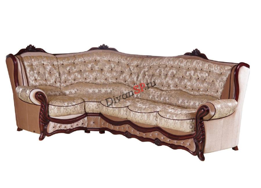 Угловой диван-кровать в классическом стиле с деревянным декором бежевый
