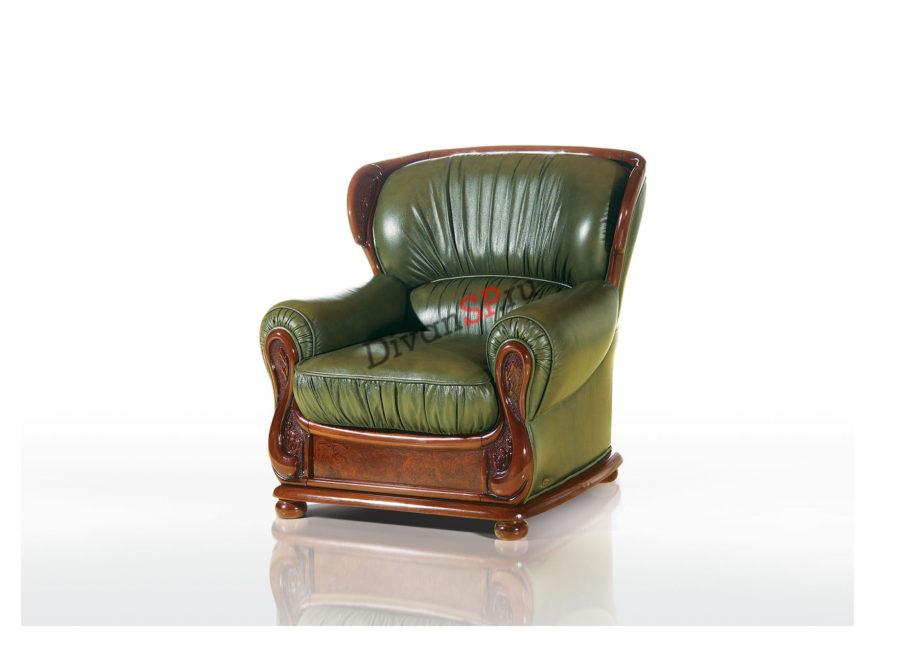 итальянское зелёное кожаное кресло