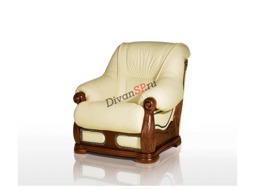 Классическое кожаное кресло с деревянным декором белое