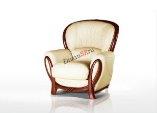 Кожаное кресло с деревянным декором Флоренция белое