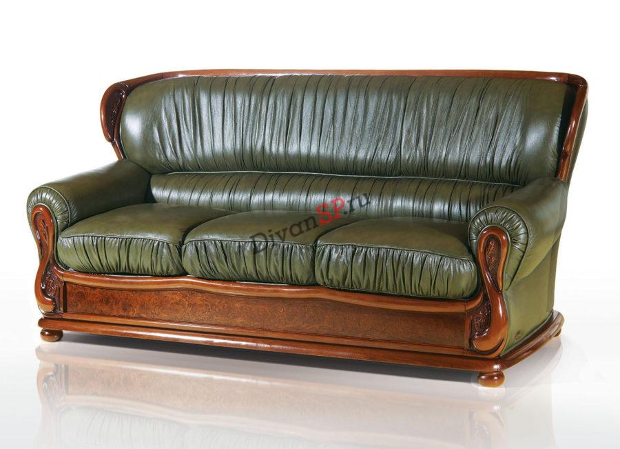 кожаный итальянский диван Лион зелёный