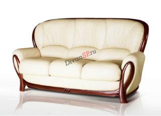 Трёхместный кожаный диван-кровать с деревянным декором белый