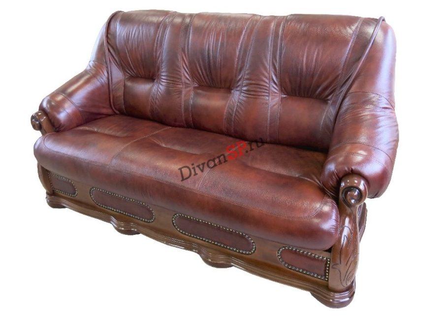 Классический кожаный диван со спальным местом коричневый