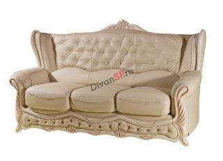 Диван-кровать в классическом стиле с деревянным декором бежевый