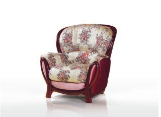 Мягкое кресло на деревянных ножках Флоренция коричневое с узором