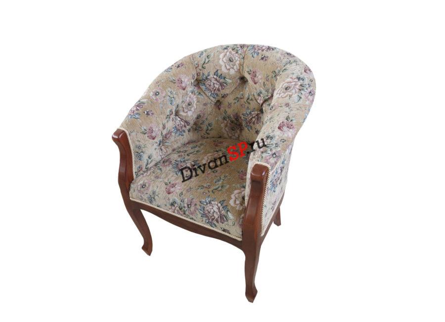 кресло на деревянных ножках Базилио-2 серое с узором