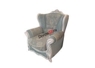 Мягкое кресло с декором на ножках Прага серое