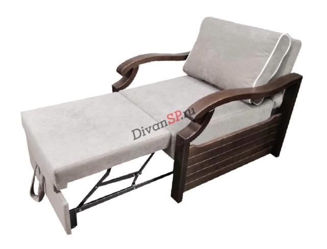 Кресло-кровать с деревянными подлокотниками Леонардо серое