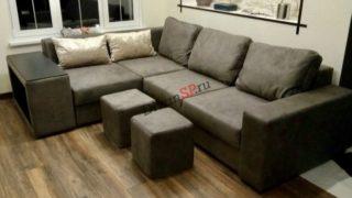 Современный модульный диван-кровать Бостон серый с пуфом