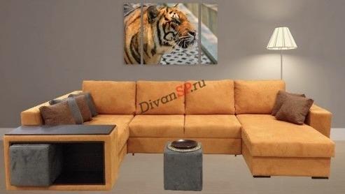 Угловой модульный диван-кровать с ортопедическим спальным местом Бостон оранжевый