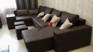 Большой темно коричневый модульный диван Бостон-36