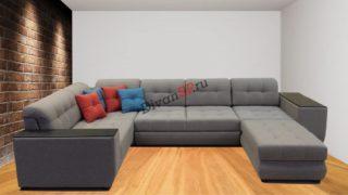 Модульный диван-кровать с механизмом дельфин Бостон серый
