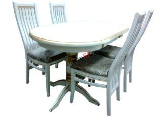 Стол обеденный овальный Григор из массива бука белый