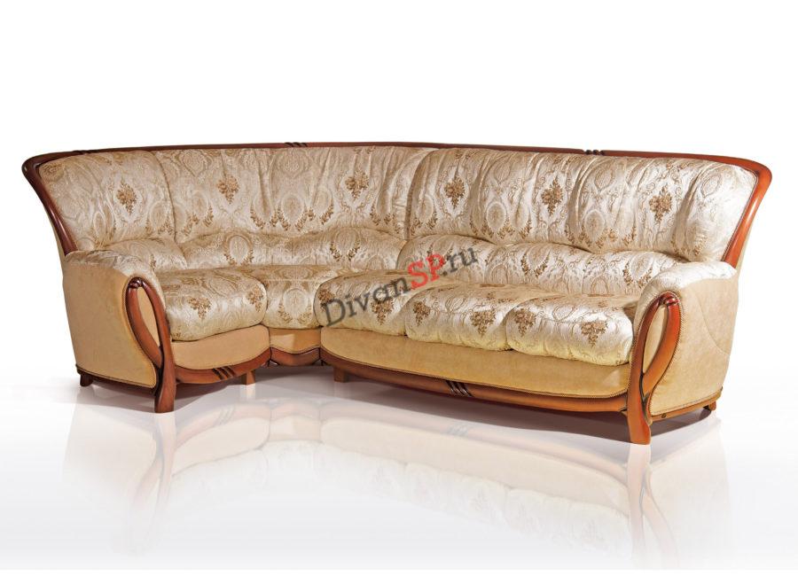 бежевый угловой диван Флоренция с деревянным декором