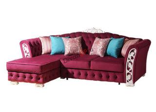 красный угловой диван Турин с декором