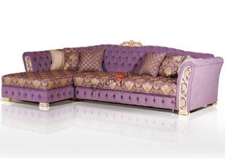 угловой диван на деревянных ножках Турин фиолетовый с золотом