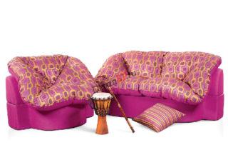 комплект мебели розовый - диван и кресло Мишель