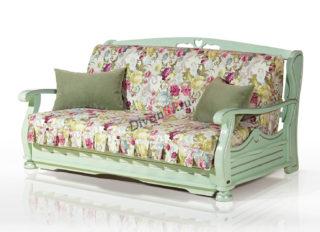диван-аккордеон Фрегат с деревянными подлокотниками зелёный